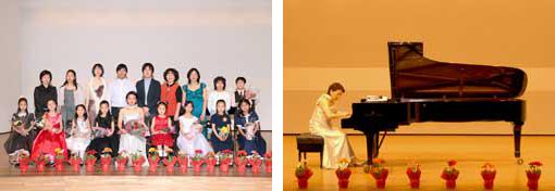 ピアノ発表会の記念撮影と発表中の写真